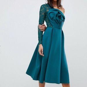 Dresses & Skirts - 3-D Floral w/ One-Shoulder Lace Dress